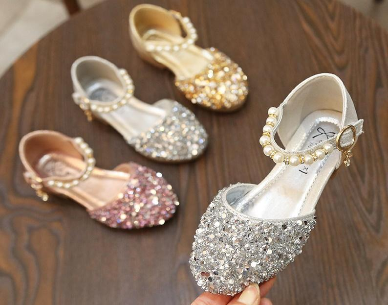 Cabritos de las muchachas zapatos del Bowknot del Rhinestone de los zapatos de cuero School Girls vestido de fiesta de la boda del resorte del otoño zapatillas de deporte