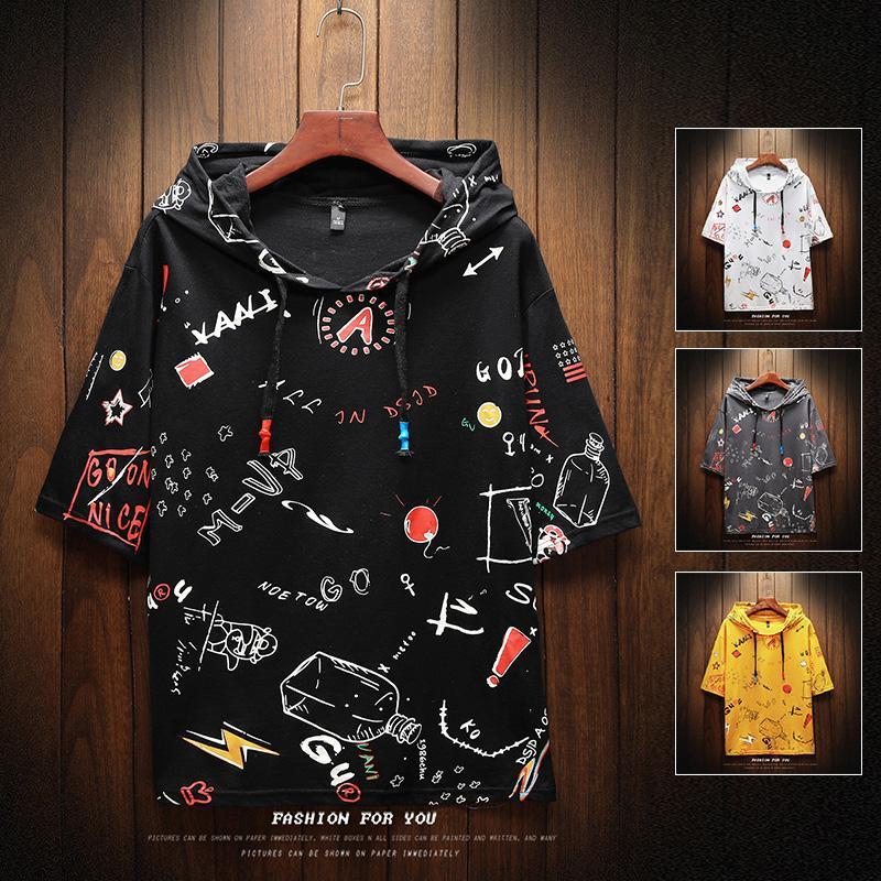 Moda estilo de los hombres de verano la camiseta de manga corta Modelo Slim Fit Camiseta de la historieta del muchacho del estudiante con capucha de algodón para hombres