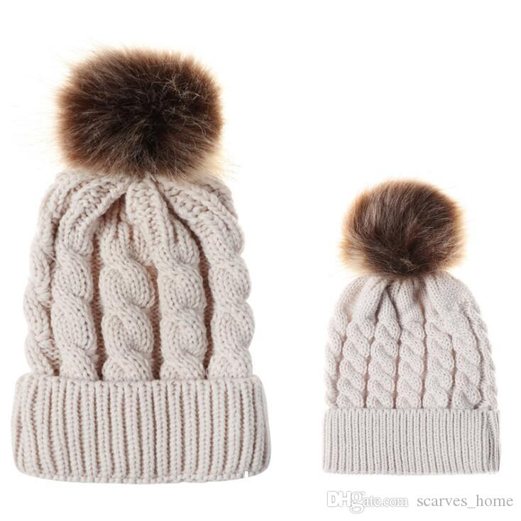 Kids & Women's Fashion Knitted Cap Family Autumn Winter Warm Hat Skullies Heavy Hair Ball Twist Beanies Solid Color Hip-Hop Wool Hats 9color