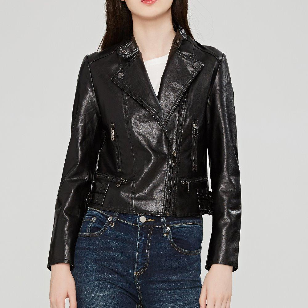 Женская кожаная искусственная мода женские женские куртки черное розовое вино красный серебро 4 цветная одежда тонкий мотоцикл куртка женщин верхняя одежда пальто