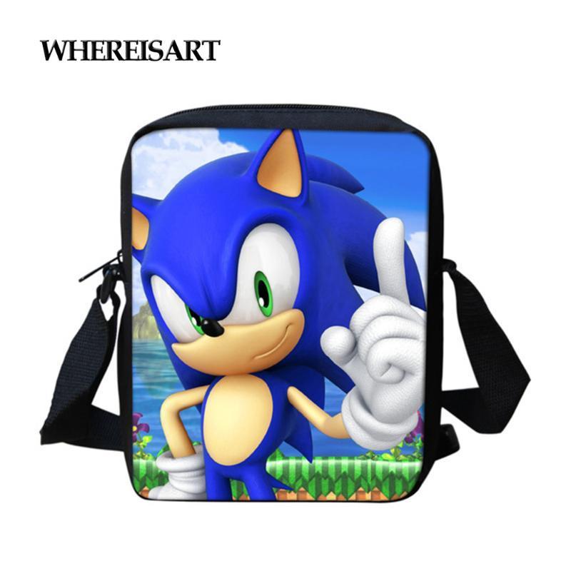 WHEREISART Karikatür Messenger Çanta Omuz Çantası Sonic 4 kirpi Baskı Cüzdanlar El İçin Kız Erkek Okul Çantaları Satchel
