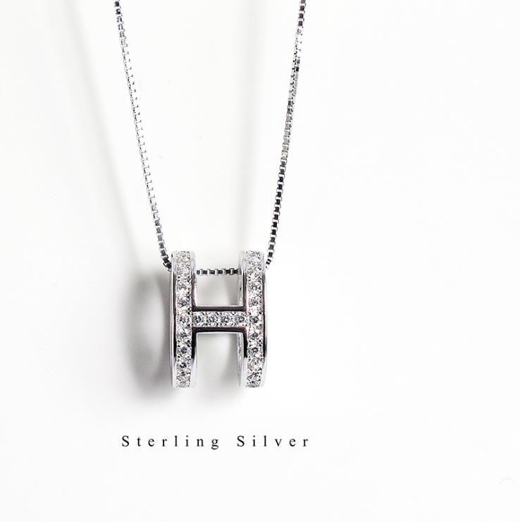 925 Silber H-englisches Alphabet Anfangshalskette weißes Gold überzogen Großbuchstabe Anhänger Mode-Schmucksachen für Frauen