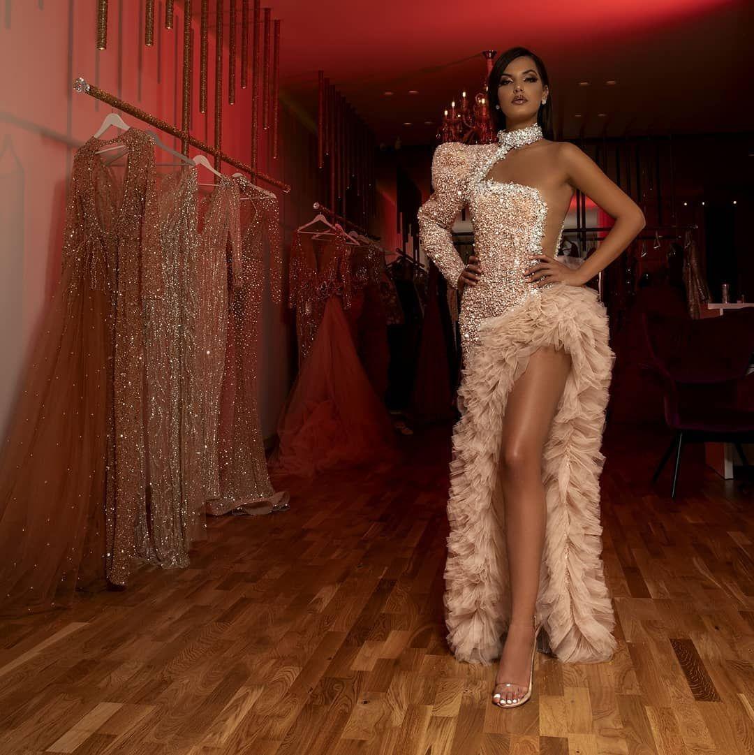 Специальный дизайн Нерегулярные Формальное коктейль платья одно плечо Luxury High Neck блестки бисером Кристалл Вечерние платья Многоуровневое платья выпускного вечера