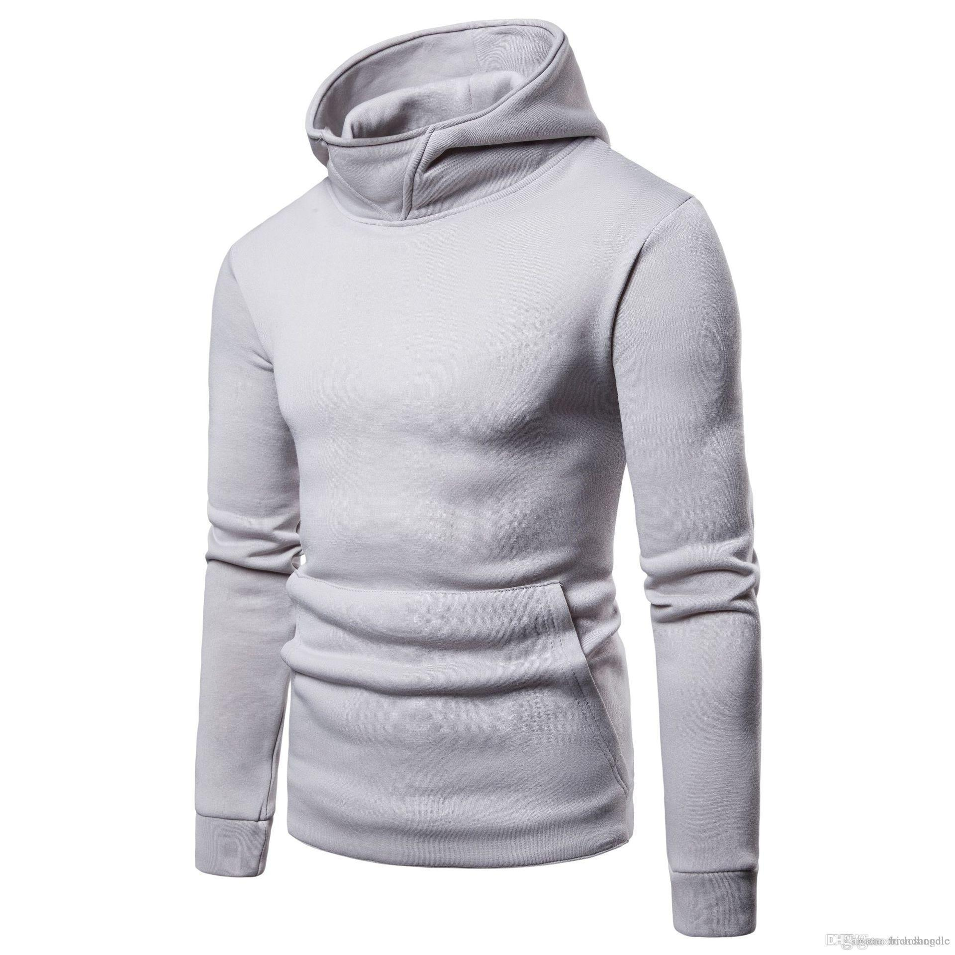 Mens Solid Hoodies Spring Autumn Male Casual Sweatshirts Tops Long Sleeved Clothes for Hommes