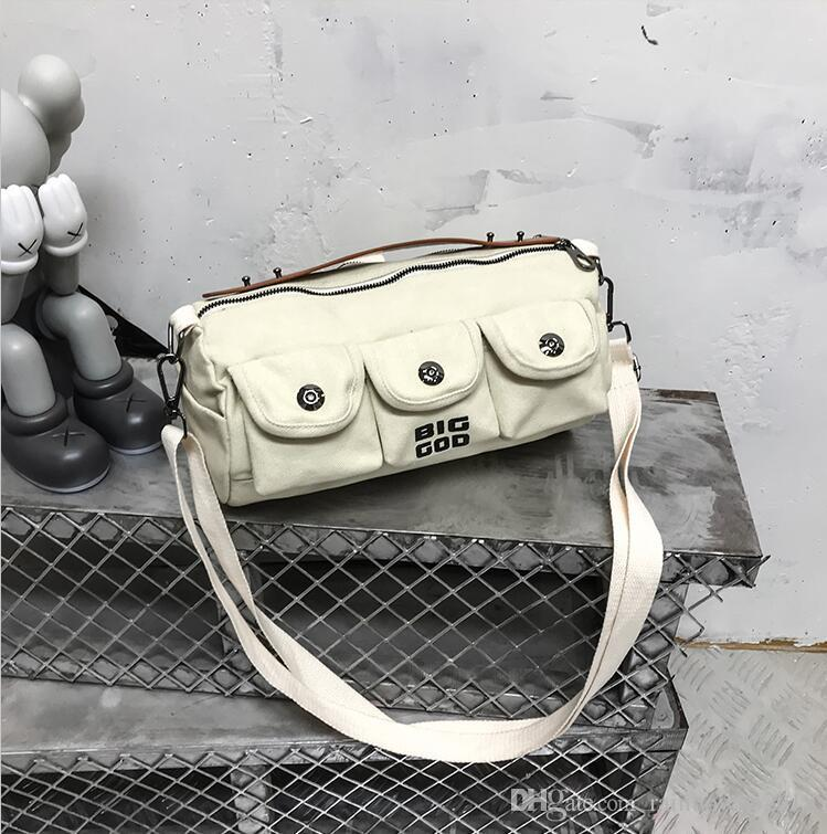 wholesale men handbag new multi-pocket fashion shoulder bag fashion multi-functional canvas Messenger bag Hong Kong wind canvas backpack