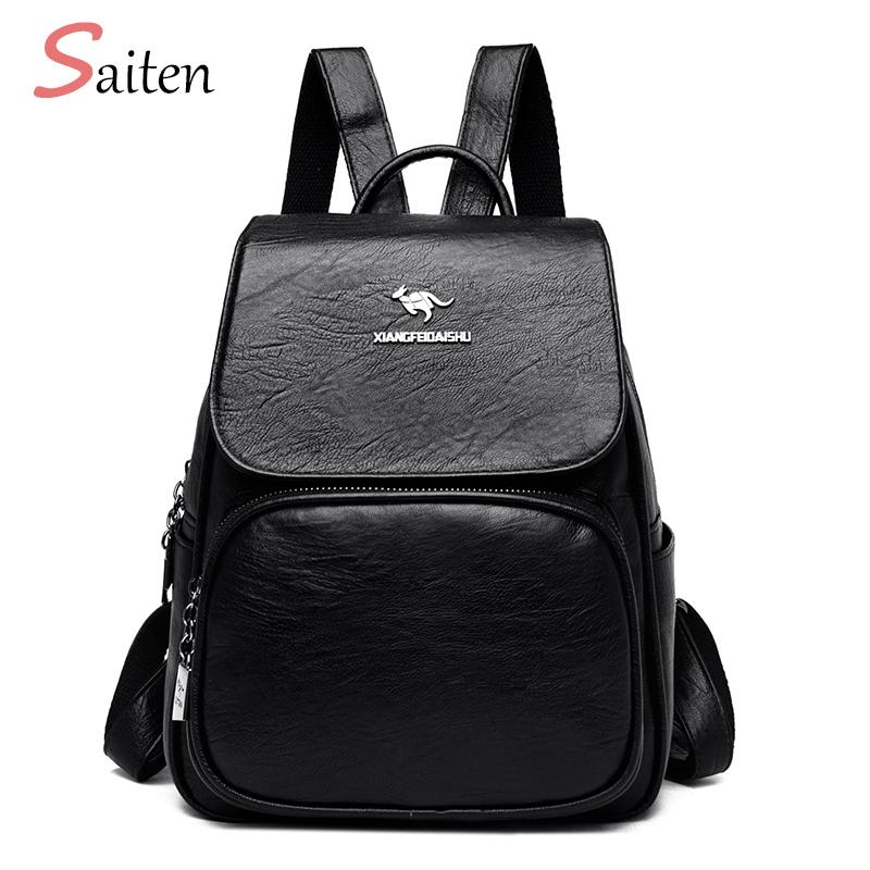 Art und Weise Frauen-Rucksack für Schule-Art-Leder-Schüler-Tasche für College-einfache Entwurfs-Frauen-beiläufigen Tag mochila Pack