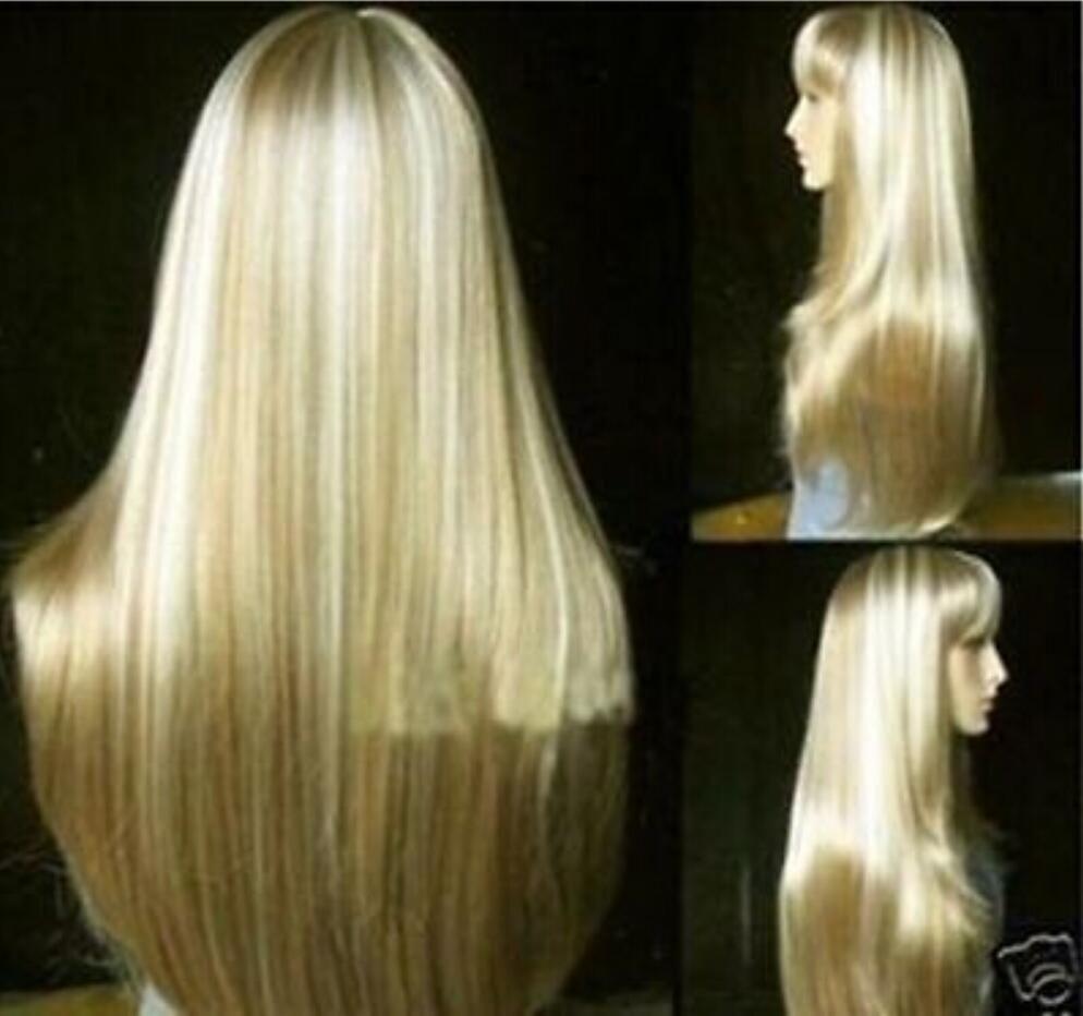 WIG free shipping Beautiful Fashion long blonde straight human-made hair wig 11
