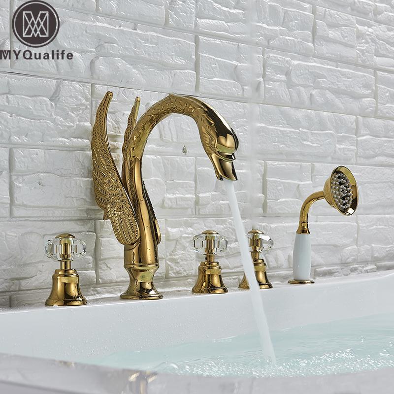 Cisne generalizada grifo de la bañera de hidromasaje de oro mezclador grifo cubierta montada Set 3 Mango cisne del baño de ducha con ducha de mano tire de la cabeza