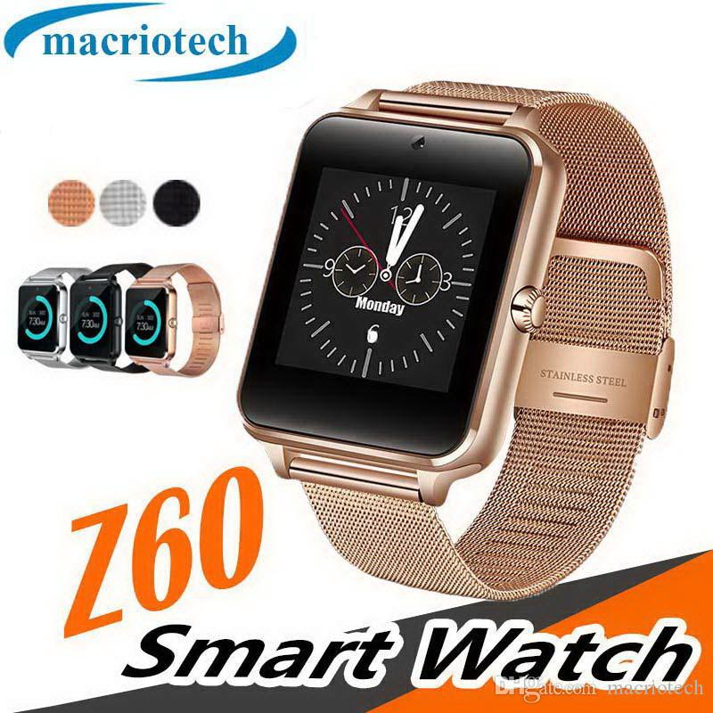 Z60 Bluetooth Smart Watch Hombres Llamada telefónica 2G GSM SIM TF Tarjeta Cámara Reloj táctil reloj inteligente Smartwatch Android Watch IOS
