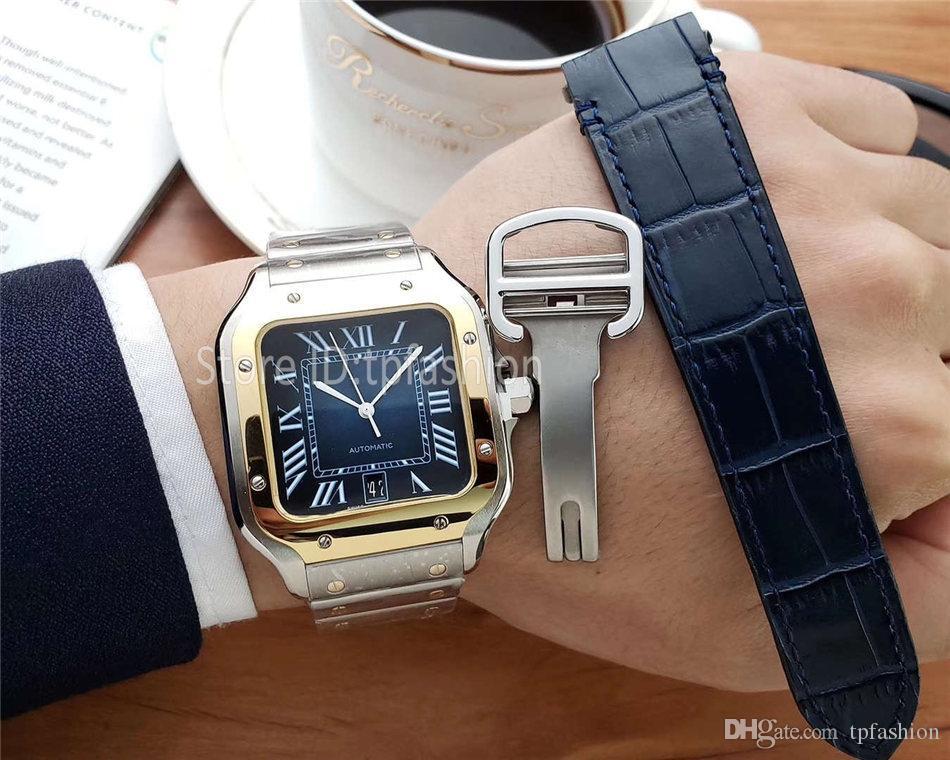 Лучшие моды качества кварцевые часы Мужчины Золото Серебро Циферблат Классический дизайн площади Быстрая смена диапазона Mens Полный нержавеющей стали Повседневный часы 1730