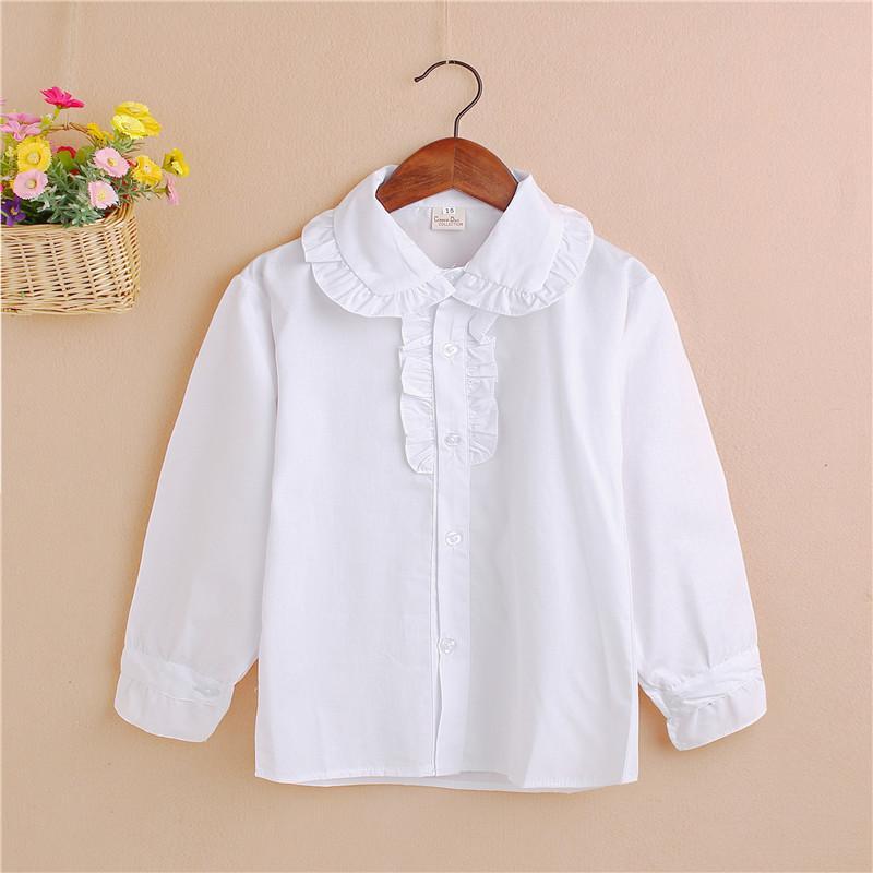 2016 nuevos de la llegada de manga larga de las muchachas del otoño blusas Escuela de algodón de los niños de la muchacha de volantes blusa blanca Niños Tops JW0188