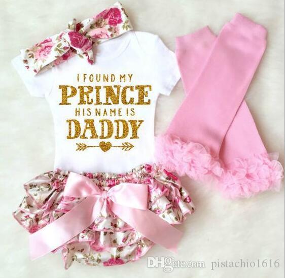Nueva carta de la impresión del bebé caliente del comercio exterior harong escritos arco de flores de cuatro piezas Conjunto 6 meses a 2T bebé