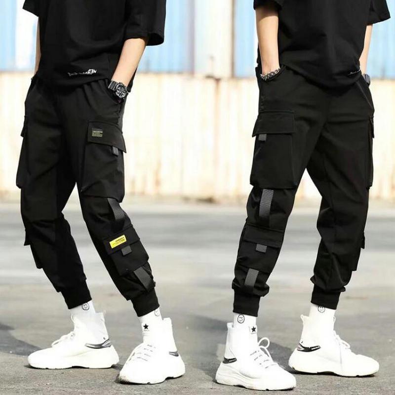 2020 Otoño Nueva Hip Hop Joggers Hombres Negro Harem Multi-bolsillo cintas hombre pantalón Streetwear pantalones casuales para hombre XS-3XL CX200615