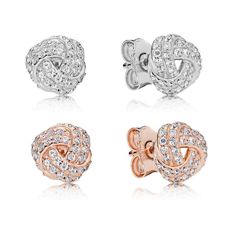 Auténticos pendientes de plata esterlina 925 con nudo de amor. Caja original para el diseñador de lujo de Pandora 18K en oro rosa. Conjuntos de pendientes.