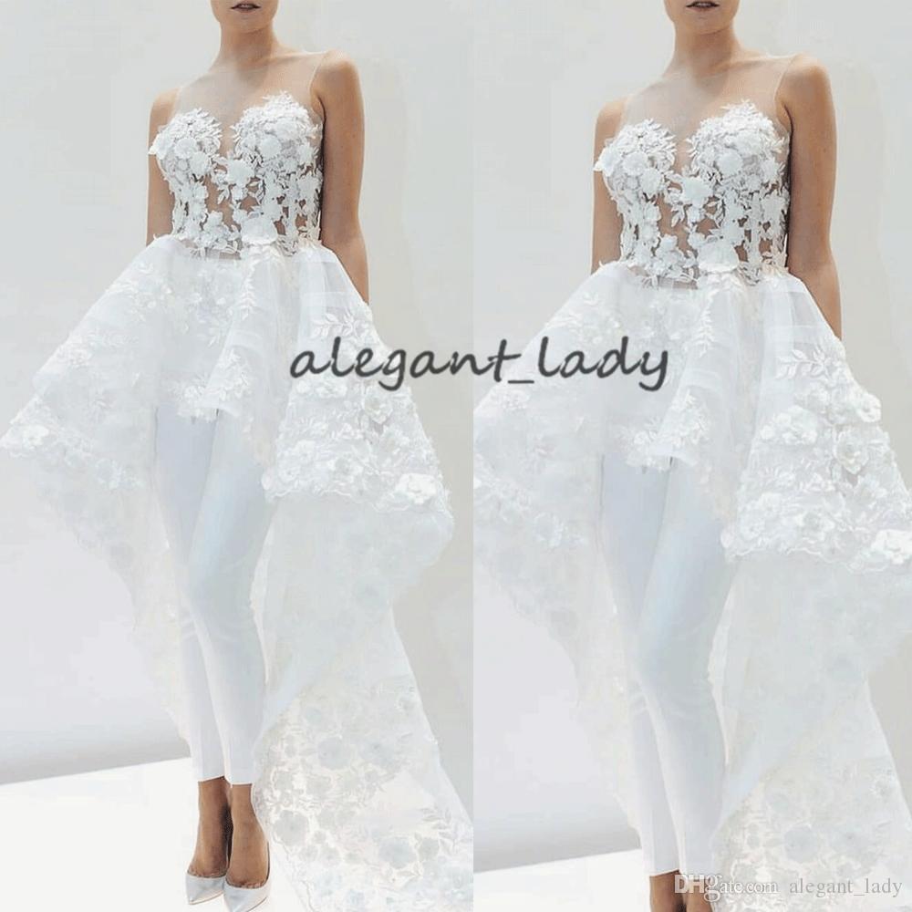 Lace Applique bridal Jumpsuits with train for Women Elegant 2019 lace 3D floral Detachable Skirt White wedding pant suit dress