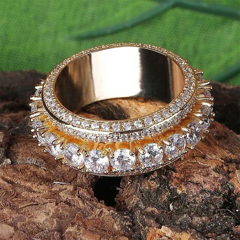 Wholesale- Diamanten Ringe mit Seitensteinen für Männer Luxus Kristall Drehbare Ringe 18k Gold überzogenes Kupfer Zirkonen Gold-Silber-Schmuck Geschenke
