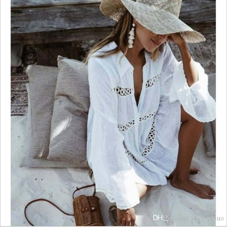 Women Casual Tassel Lace Sexy Lace Kimono Blouse Coat Casual Long Cardigan Beach Bikini Hollow Cover-Up Dresses Mesh Swimsuit Bathing Suit