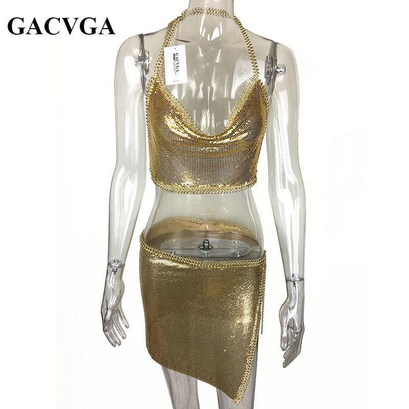 GACVGA 2019 Sexy Metal Crop Top Beach Fitness T Shirt Women Summer Tops Sequined Tank Top Bralette Sexy Cropped Feminino Blusa MX200324
