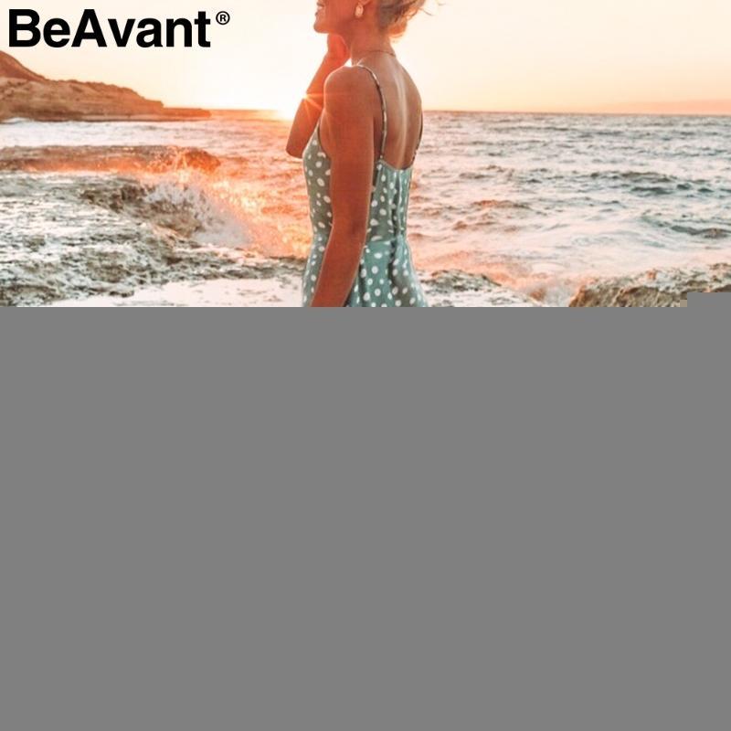 BeAvant Bohemian sexy V-Ausschnitt Punktdruck Maxi Kleidfrauen elegante Spaghetti Gurtknopf Kleid Sommerstrandkleid lang weiblich