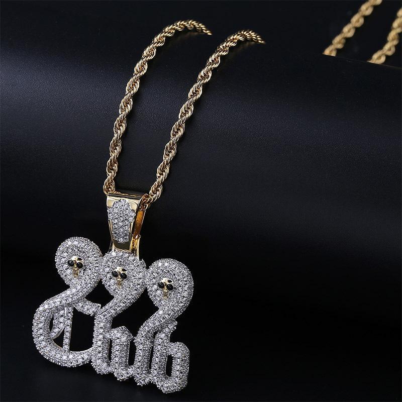 Squisito collane gioielli moda uomo donna grado qualità bling zircone pavimentato 18 k placcato oro numeri lettere cranio hip hop collana ln162