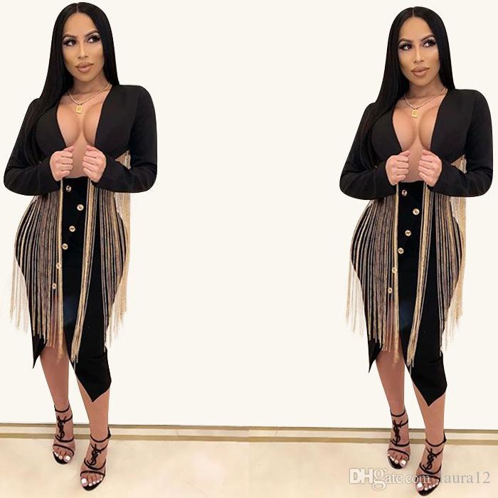 Le donne alla moda lungo nappe Breve giacche nere a maniche lunghe con scollo a V Sexy Lady Coats Stunning partito Club Wear Cappotti S - 2XL