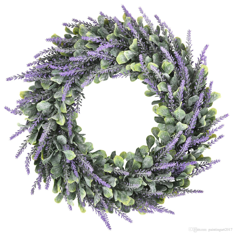 2021 16 Artificial Lavender Wreaths Fake Nature Purple Wreath Diy Wedding Home Decor Outdoor Or Indoor Door Decorative Wreath From Paintingart2017 14 8 Dhgate Com