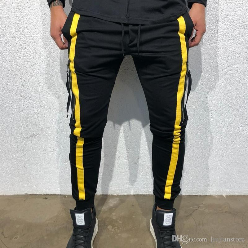 panelled Pants With Pockets Mens Fashion Designer Casual Loose Drawstring Pants Mens Pure Color Striped Pants Autumn