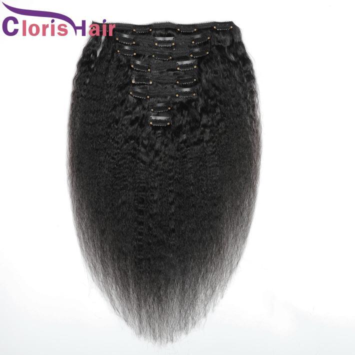 Full Head Kinky Straight Brazilian Virgin Hair Extension Clip Ins 8pcs/set 120g Natural Human Hair Cheap Coarse Yaki Clip In/On Extensions