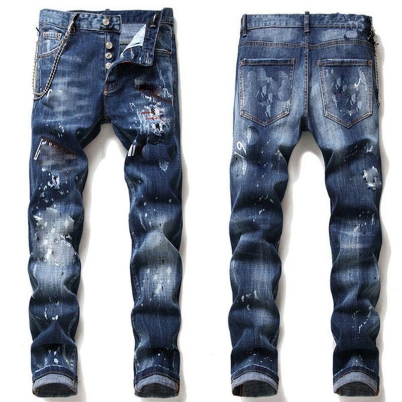 dsquared2 jeans dsq d2 Mens Rips negro estirar los pantalones vaqueros de moda del ajustado de los pantalones lavados Moto Denim plafonadas pantalones de Hip Hop A16