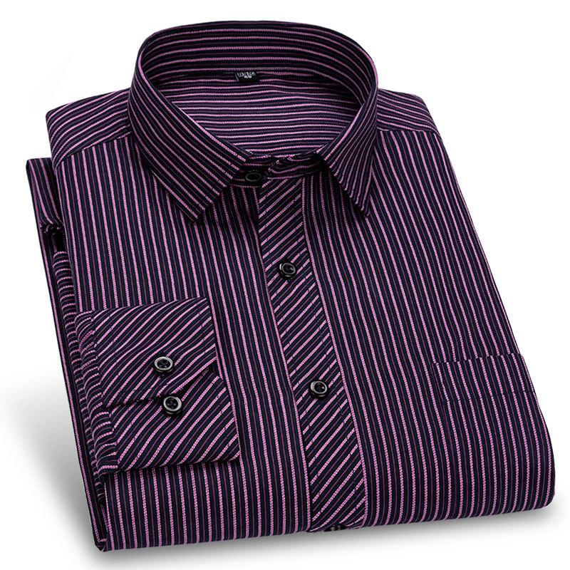 Long Sleeve Formal Men's Striped Dress Shirts Social Turn-down Collar With Pocket Regular Fit Business Male Smart Casual Shirt Y200601