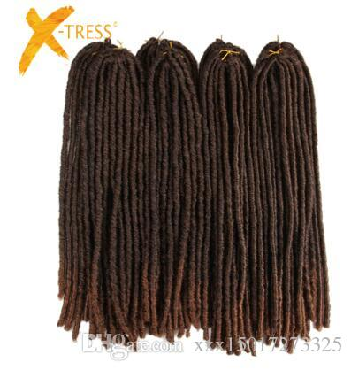 18inch Soft Dreadlocks Crochet Braids Jumbo Dread Hairstyle Ombre Color Synthetic Faux Locs Braiding Hair Extensions