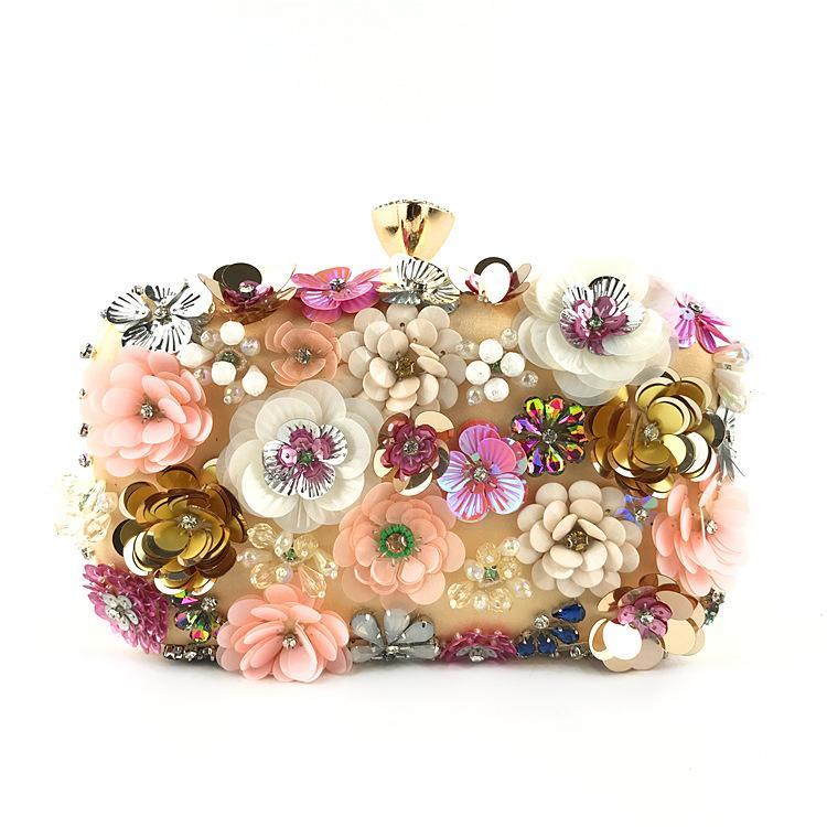 Moda donna borse da sera delle signore del fiore di perline ragazze della borsa a mano di nozze banchetto frizioni partito 2020 borse di telefono a gettoni
