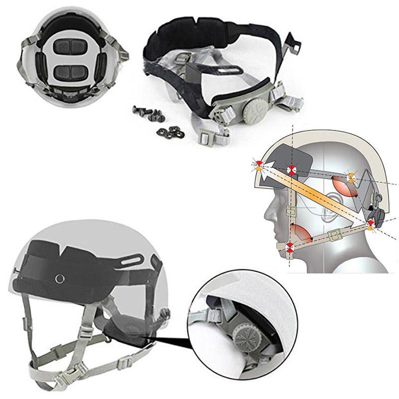 Система висячие Airsoft передач Тактические Быстрый Шлем Внутренний Маунт Head Замок поясная циферблатом Liner замок ремня системы NO01-124