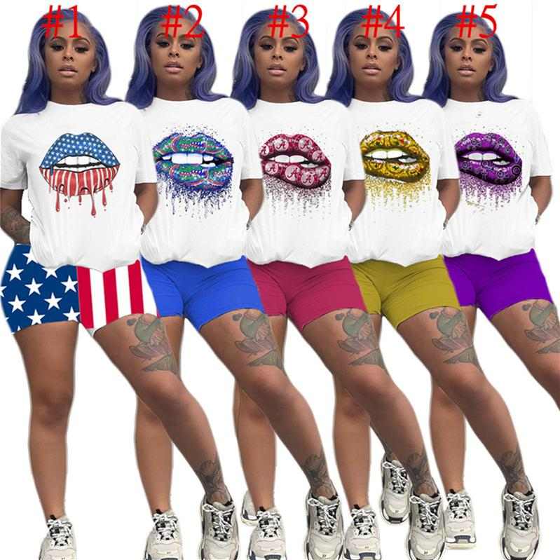 Luxe femmes Designer Survêtement Womans 2 Piece Set vêtements de marque T-shirts à manches courtes t-shirt Shorts Drapeau Outfit sport D6812