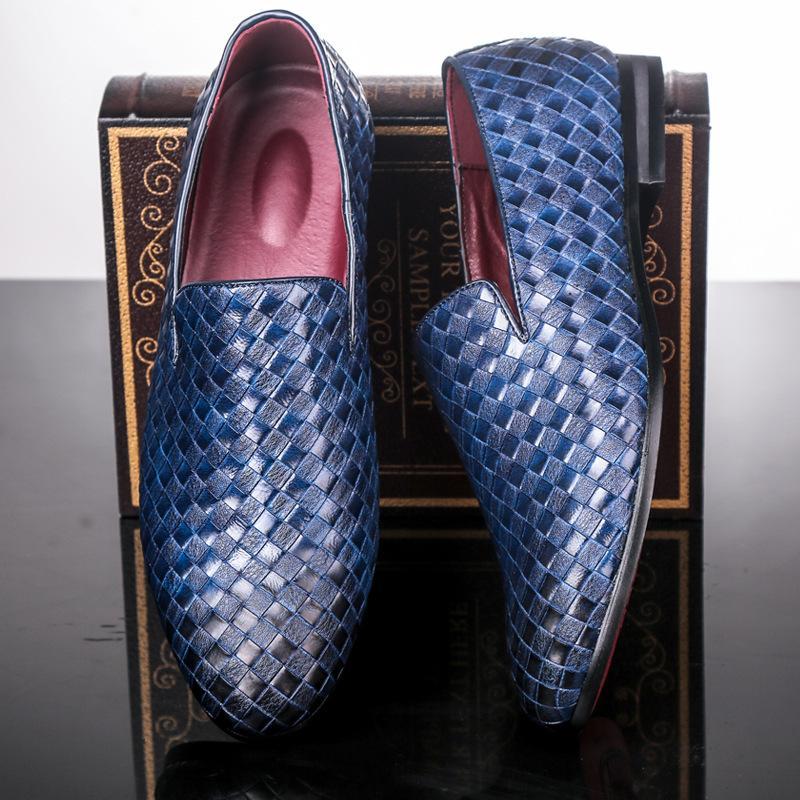 Весна Осень мужчин кожа Повседневная обувь Мокасины Плетение скольжению на мужчин платье обувь Мода Мягкие мокасины дышащий Мужчины Квартиры Мокасины