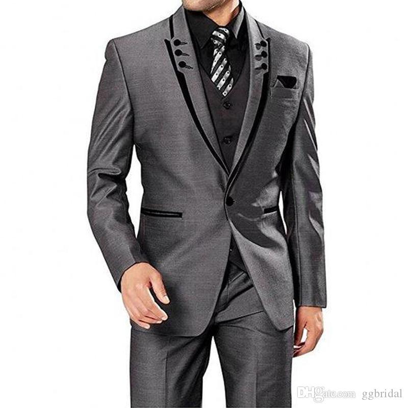 2019 новый серый свадьба смокинг для мужчин Blazer + брюки + жилет комплекта Groom Suite Tuxedo Groomsman костюм для свадьбы