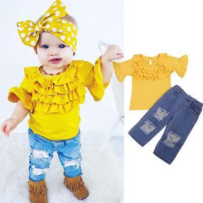 2adet Güzel Çocuk Bebek Kız fırfır Sarı tişört Uzun Pantolon Kıyafetler Giyim Seti Bebek Bebek Çocuk Kız Giyim fırfır tişört