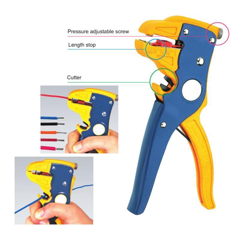 Utensili a mano professionale Spellafili automatica per la spogliatura del cavo regolabile a nudo e tagliatrice 0.25-6.0mm² Gamma