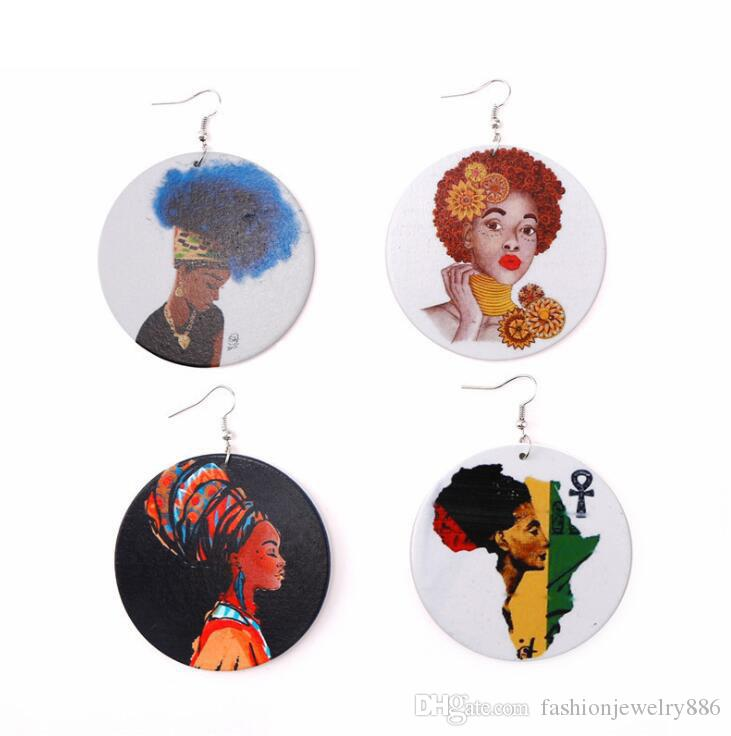 Padrão Chefe africano coloridos brincos de madeira geométrica afro Rodada Madeira Pingente encanto Dangle Peixe Hoop Brincos Eardrop For Women Jóias