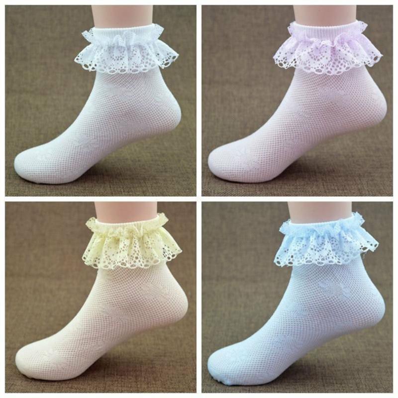 Rodilla 4pcs del bebé muchachas del cordón calcetines de la princesa del bebé altos boda malla muchachas del niño Calcetines Medias floral calentador de la pierna para Niños