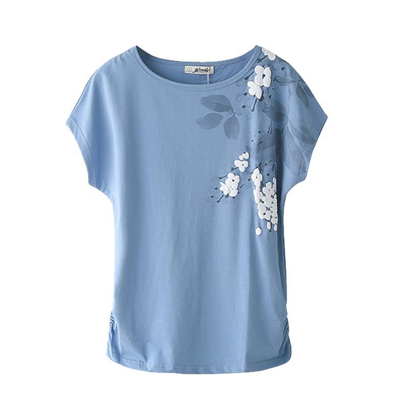 t-shirt 2020 Mulheres de Verão Tops Cotton soltas de manga curta T-shirt Feminino Branco bordados Básico grande tamanho M 4XL