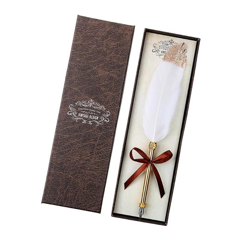 Ретро Бизнес подпись ручки белый перью Dip Pen W / подарочная коробка Канцтовары подарки для дня рождения пары Учителя старейшины