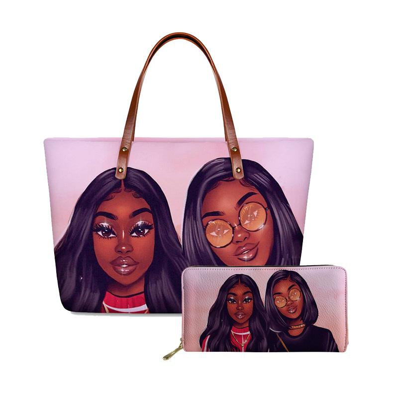 HYCOOL New Women Bags 2020 Afro Sister Black Girls Printing Fashion Purses and Handbags Set Female Clutch Bag Wallets Hand Bags