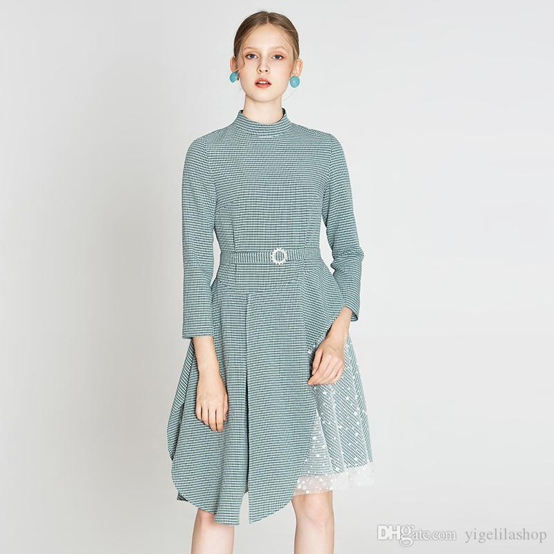 casual skirts with belted long sleeve high-waisted plaid shirt high neck dresses oversized t shirt dress luxury designer womens dresses