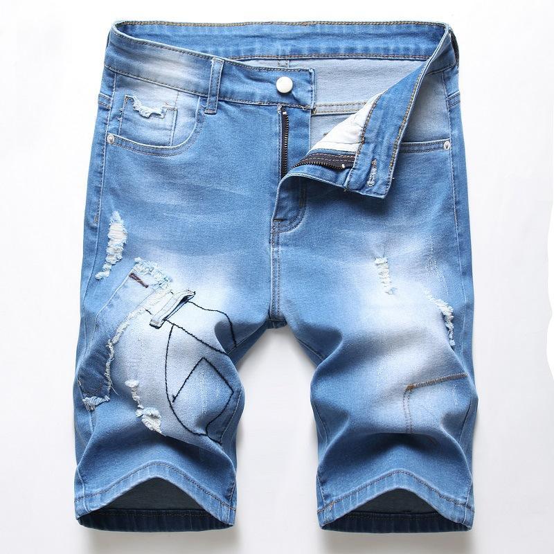 Verão Destruído Ripped Denim Jean Men Shorts Casual azul solto Shorts Carga joelho Curto Bermuda longa Big Alto Tamanho 42
