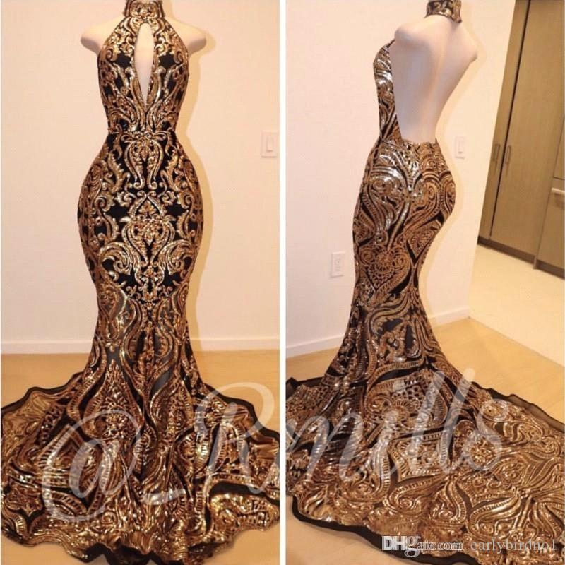 Fabulous Sleeveless Mermaid Collar Backless Prom Dresses 2019 Gold Lace Applique Formal Gowns Evening Party Dresses BC1179