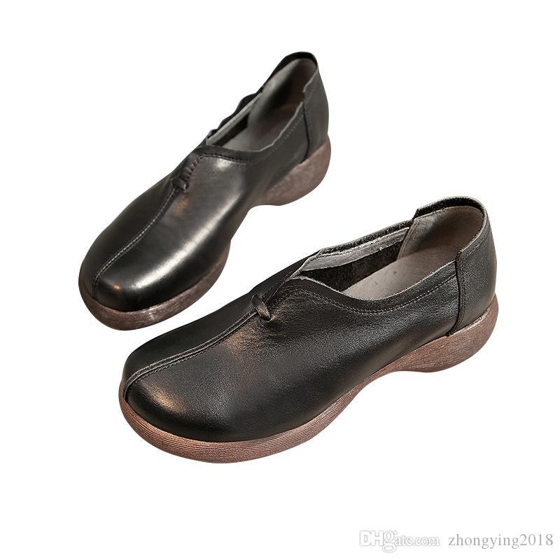 Scarpe rese originali signore Oxfords Scarpe in pelle Slip on Sole Sole Pmaly Gomma Casual Flats Zy705 Bnfxi