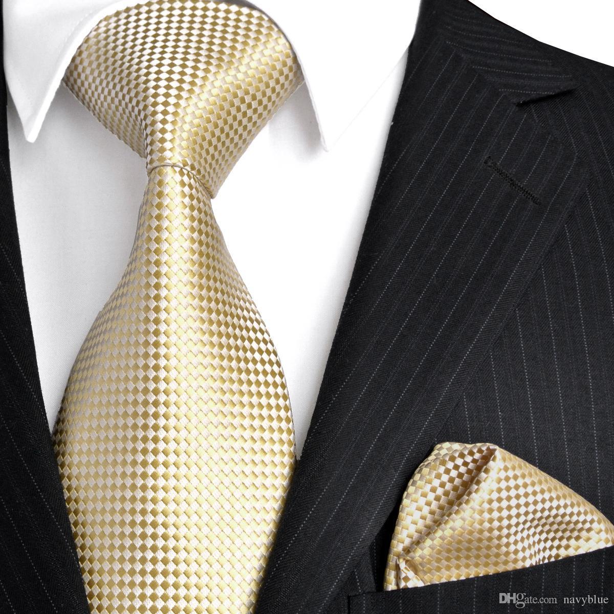 F15 골드 옐로우 실버 솔리드 남성 넥타이 넥타이 100 % 실크 자카드 직물 넥타이 세트 손수건 한 벌 선물 남성용 무료 배송 검사