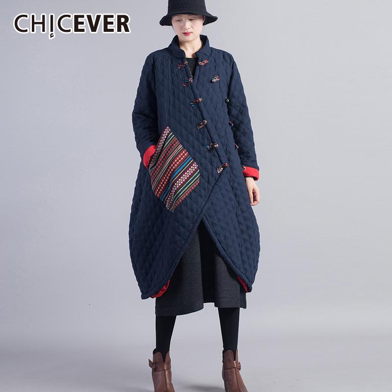 CHICEVER Vintage-Patchwork Criss Cross Frauen-Baumwollmantel O-Ausschnitt Langarm Aufmaß Asymmetrische Thick Female Parkas 2019 Neu