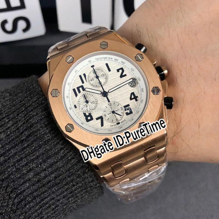 Real 26470 Miyota Quartz Chronograph Mens Watch Rose Texture Ouro Branco Discar Número Preto Marcadores pulseira de aço inoxidável Puretime 119b2